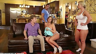 Hardcore foursome unfolds with a couple of sexy pornstars