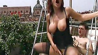 Slutty vintage blonde dressed in black nylon stockings is enjoying anal fuck
