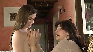 Milena velba plays with emma\'s puffy nipples