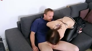 Goth babe alice finds her brother masturbating