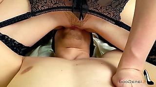 Teen in stockings gets orgasm riding rod. female dom hookup & FACESITTING ORGASM.