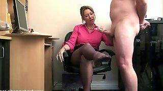 Femdom mistress cum on sheer nylon pantyhose