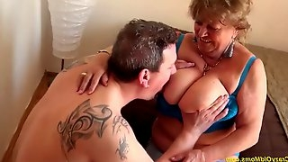 Chubby 77 years old mom gives a great tit job