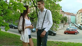 Sophomore virgin student Lena gets her pussy fucked for the first time