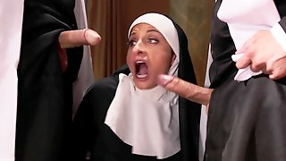 Silvia Saige dresses as a nun loves to eat cum from her lovers