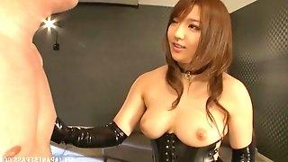 Japanese Girl In Latex Gives Handjob And Sucks A Cock