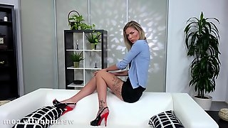 Babe in sandals with high heels, Claudia Mac took off her clothes and started masturbating