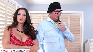 Screwing on the bed with expansive boobs housewife Ava Addams. HD